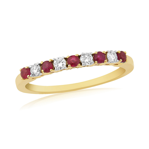 Yellow Gold Ruby And Diamond Claw Set Eternity Ring